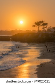 Beautiful sunset over a Pacific coast beach, CA