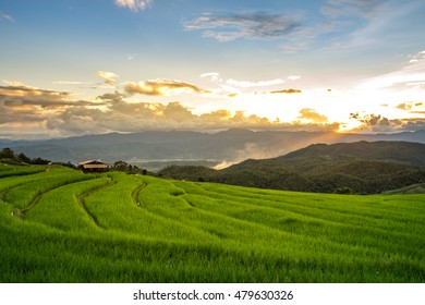 Beautiful sunset over the paddy fields in Pa Pong Pieng , Mae Chaem, Chiang Mai, Thailand.