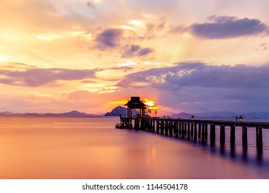Beautiful sunset over the pier in Phuket, Thailand