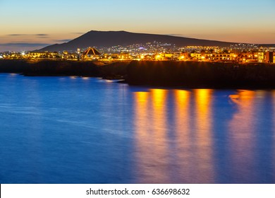 Beautiful sunset over Playa Blanca in Lanzarote