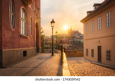 Beautiful sunset over the Prague castle and St. Vitus cathedral,