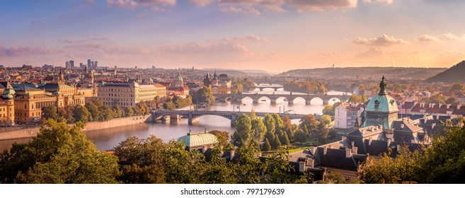 Beautiful sunset over Prague from Letenske sady, The capital of Czech Republic