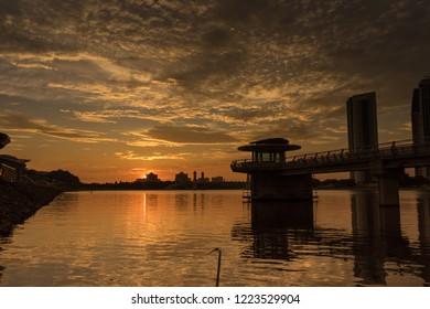 Beautiful sunset over Putrajaya Dam in Putrajaya, Malaysia