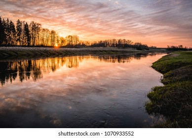 Beautiful sunset over river Musa, Lithuania