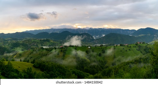 Beautiful sunset over rural landscape in the mountains