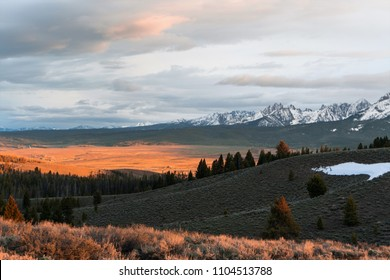 Beautiful Sunset over the Sawtooth Mountains near Stanley, Idaho