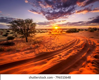 Beautiful sunset over the scenic kalahari-landscape in Namibia