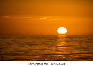 Beautiful sunset over the sea with clear sky in Anna Maria Island, Florida