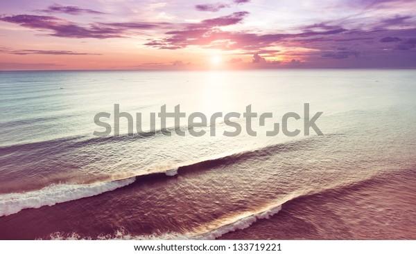 beautiful sunset over sea photo