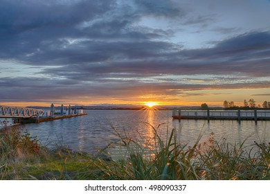 Beautiful sunset over the Snohomish River in Everett