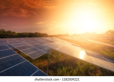 Beautiful sunset over  Solar energy at Solar panels (solar cell) in solar farm with sun lighting to create the clean electric power