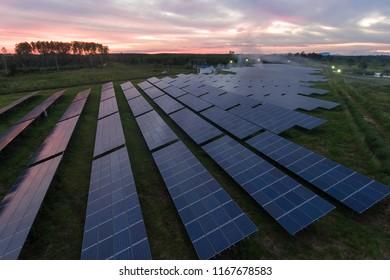 Beautiful sunset over Solar Farm,Green Energy Concept