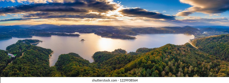 Beautiful sunset over Solina lake in Bieszczady Mountains in Poland. Beautiful polish travel destination.