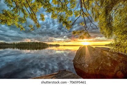 Beautiful sunset over Swedish lake
