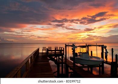 Beautiful sunset over Tampa Bay
