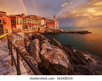 Beautiful sunset over Tellaro, a picturesque fishing village in Liguria, Italy.