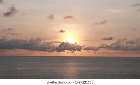 Beautiful sunset over tropical sea at Phuket Thailand