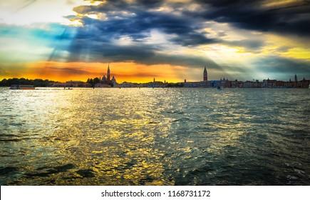 Beautiful sunset over the Venice, panorama photo.