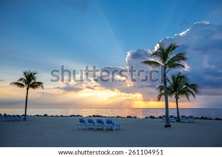 Beautiful sunset over water on Key Largo, Florida, USA