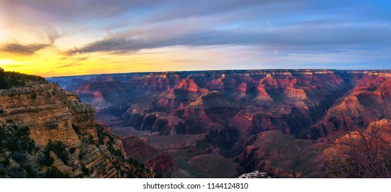Beautiful sunset panorama in Grand Canyon National Park from point of view named Mather Point.