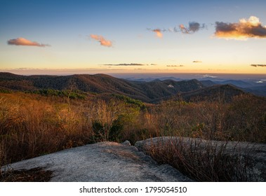 Beautiful Sunset from the peak of Sassafras Mountain, The tallest point in the  State of South Carolina
