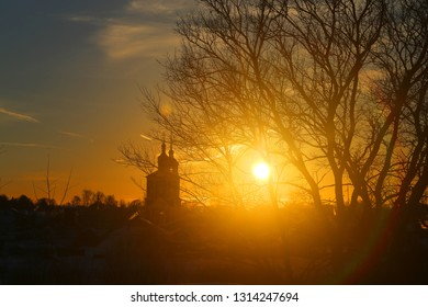 Beautiful sunset photo in the winter in the Russian city of Suzdal with the temples