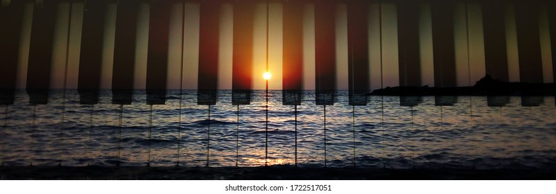 Beautiful Sunset and piano keyboard in Greek island on summer holidays. love couple tenderness scenery, exotic destination Mediterranean meditation. romantic togetherness calm vacation travel yoga