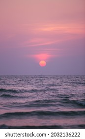 Beautiful of sunset with pink sea at Thailand