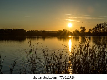 Beautiful sunset at the pond