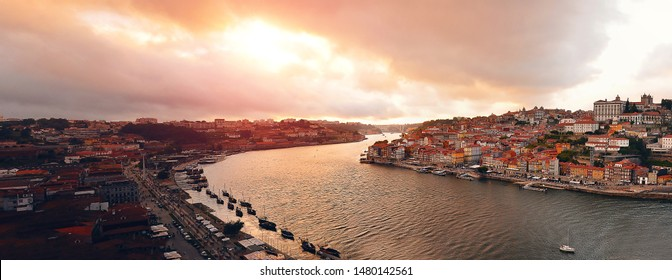 Beautiful sunset in Porto, Portugal.