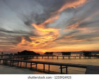 Beautiful sunset at Pulo Cinta, Gorontalo, Indonesia