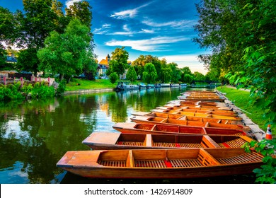 Beautiful sunset of punting boats at cam river in Cambridge City in England