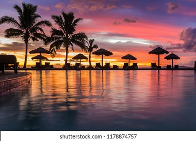 A beautiful sunset reflecting in the water in Fiji
