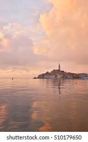 Beautiful sunset in Rovinj, a Croatian fishing port on the west coast of the Istrian peninsula, Croatia