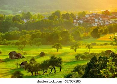 Beautiful sunset in rural area of Tolmin, Slovenia