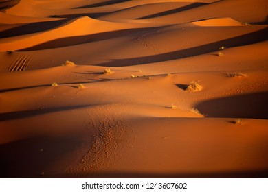 Beautiful sunset in the Sahara desert. Sand dunes at sunset Marocco