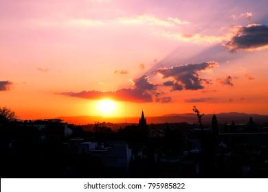 A beautiful sunset in San Miguel de Allende