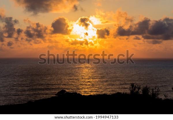 Beautiful sunset in Santa Cruz das Flores - Flores Island - Azores Portugal