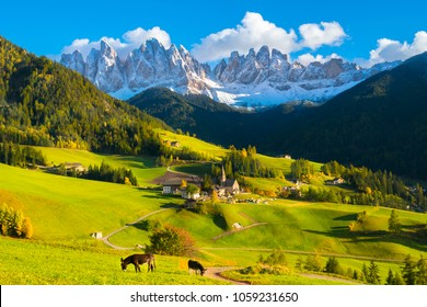 Beautiful sunset in Santa Maddalena village - Val di Funes valley,  Dolomites - Trentino Alto Adige, Bolzano - Italy