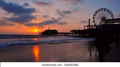 Beautiful Sunset at Santa Monica Pier, California