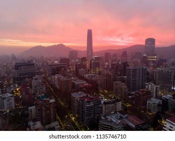 Beautiful sunset at Santiago de Chile