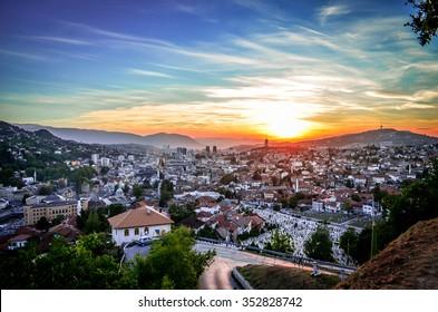Beautiful sunset in Sarajevo