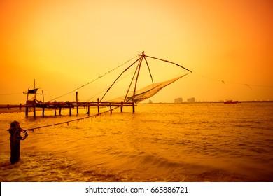 beautiful sunset scene of Kochi chinese fishnets, Kerala. Fort Kochin, Kochi, Kerala, south India