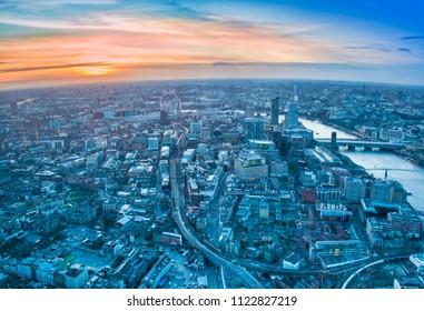 beautiful sunset scene in London city skyline