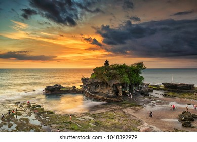 Beautiful sunset scenery at Tanah Lot, Bali, Indonesia