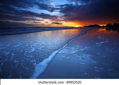 Beautiful sunset at sea. - Shutterstock ID 89853520