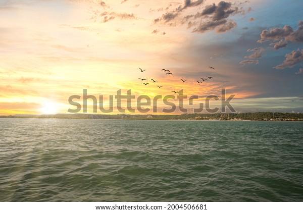 Beautiful Sunset at sea, Barra de São Miguel, Alagoas, Brazil.