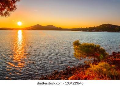 Beautiful sunset sea landscape near city Ayvalik, Turkey