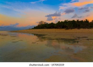 beautiful sunset sea on the Philippine island
