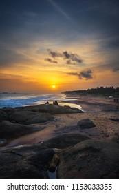 Beautiful sunset at sea side. Kanyakumari district- Tamilnadu, India.